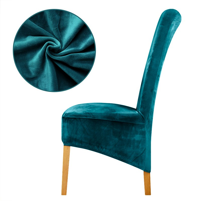 Teal Velvet Long Back Chair Cover - Premium Dining Chair ...